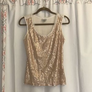 Worthington Medium Sequin Gold Tank Top